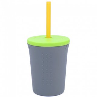 GoSi GO-CPST1203 silicone straw cup 350ml grey/lime
