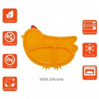 INNO IN-SIL-CKP02 silicone suction divided plate Chicken Pink
