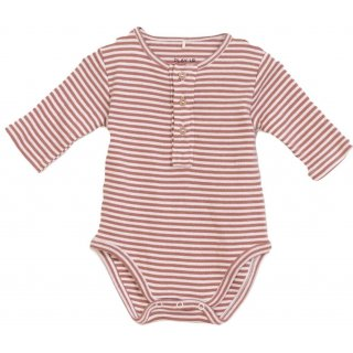 Play Up Striped Rib Bodysuit brown/white