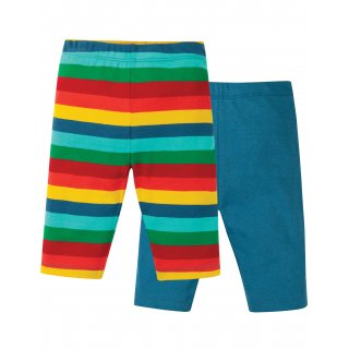 Frugi Laurie Shorts 2 Pack Steely Blue Multi Stripe
