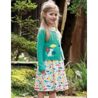 Frugi Annie Applique Cardigan Pacific Aqua Cat Kids