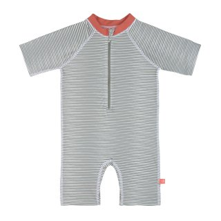LSF Short Sleeve Sunsuit Striped coral