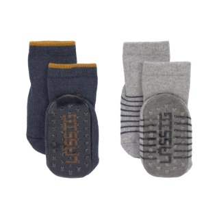 Anti-slip Socks 2 pcs. assorted grey/beige 19-22