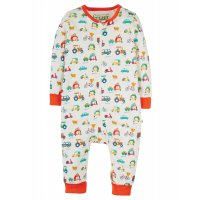Frugi Summer Zip Babygrow Soft White Toot